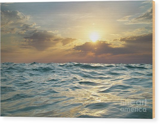 Wave On Sunset. Nature Composition Wood Print by Djgis