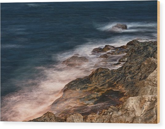 Waves And Rocks At Sozopol Town Wood Print