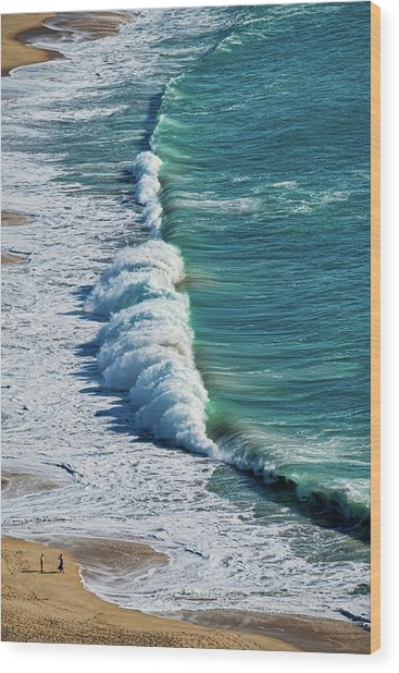 Waves At Nazare Beach - Portugal Wood Print