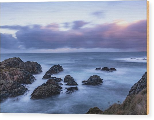 Waves At The Shore In Vesteralen Recreation Area Wood Print