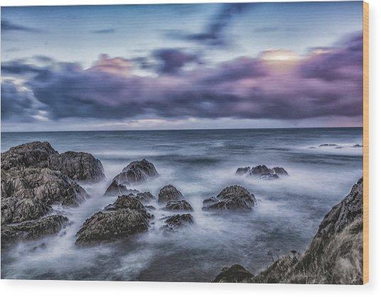 Waves At The Shore Wood Print