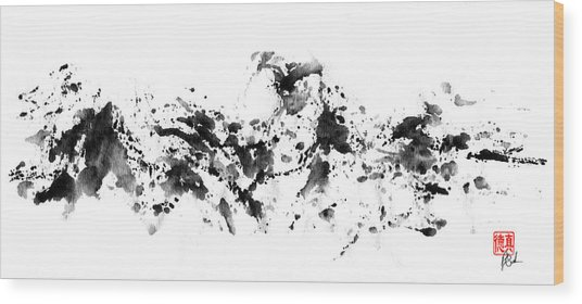 Waves Crashing Wood Print