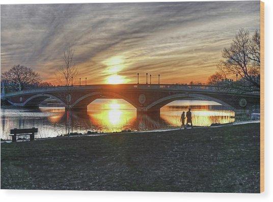 Weeks Bridge At Sunset Wood Print