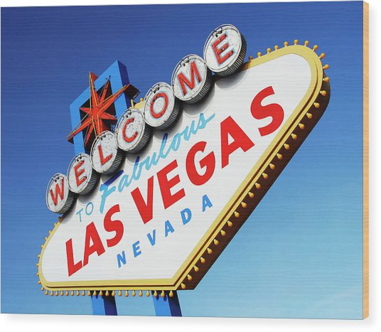 Welcome To Las Vegas Sign, Low Angle Wood Print by Steven Puetzer
