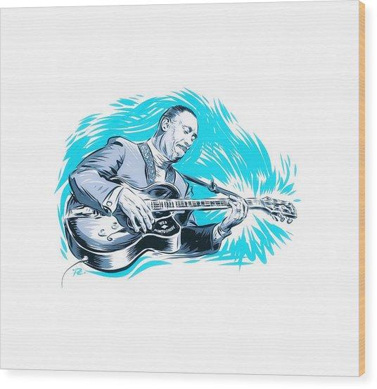 Wes Montgomery - An Illustration By Paul Cemmick Wood Print