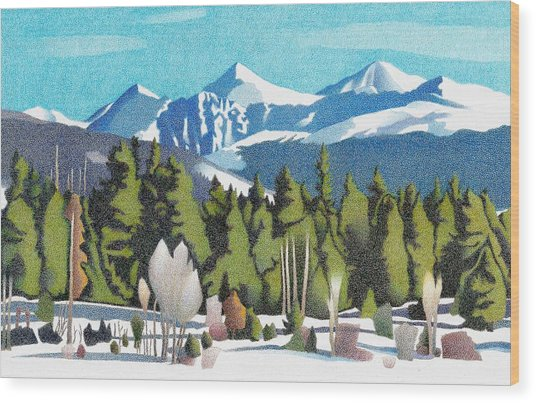 Wood Print featuring the drawing Western Slope Winter by Dan Miller