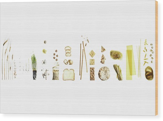 Wheat Dissection Shown In Many Uses And Wood Print