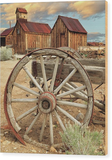 Wheels And Spokes In Color Wood Print