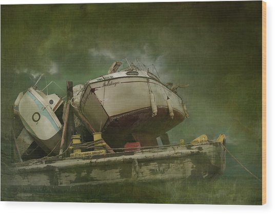 Where Old Boats Go To Die Wood Print
