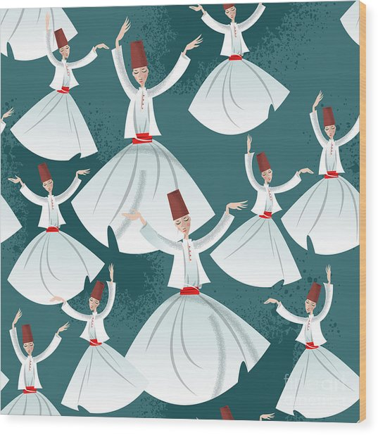 Whirling Dervishes. Seamless Background Wood Print