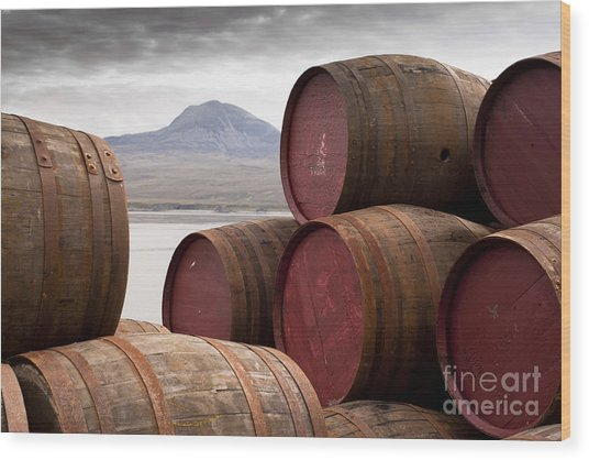 Whisky Barrels On Islayview Over To Wood Print