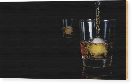 Whisky On Ice For Two Wood Print