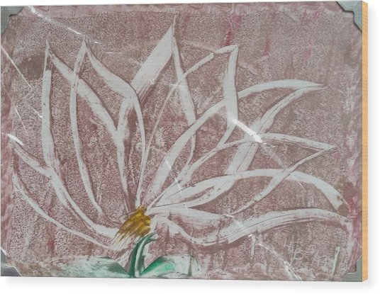 White Abstract Floral On Silverpastel Pink Wood Print