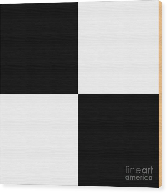 White And Black Squares - Ddh586 Wood Print