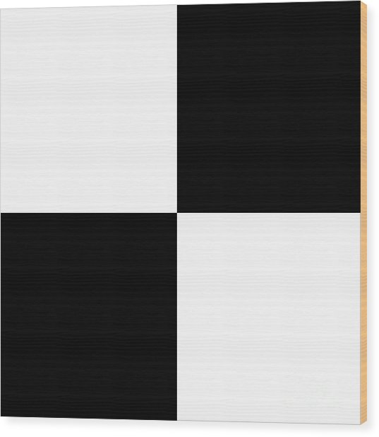 White And Black Squares - Ddh588 Wood Print