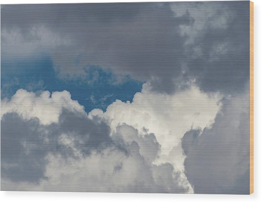 White And Gray Clouds Wood Print