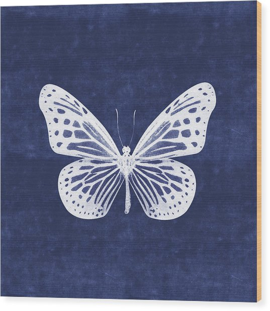 White And Indigo Butterfly- Art By Linda Woods Wood Print