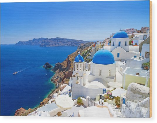 White Architecture Of Oia Village On Wood Print by Patryk Kosmider