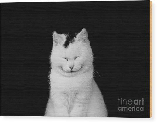 White Cat Smiling Wood Print