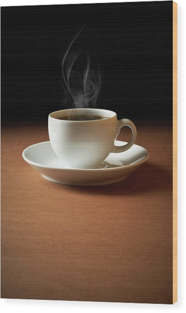White Cup Of Coffee Sends Up Steam Wood Print