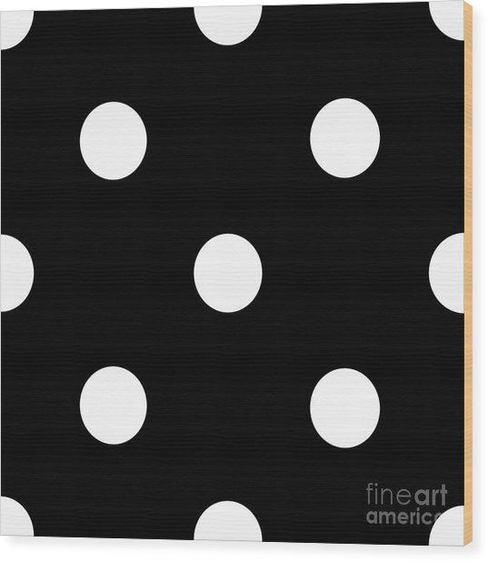 White Dots On A Black Background- Ddh612 Wood Print
