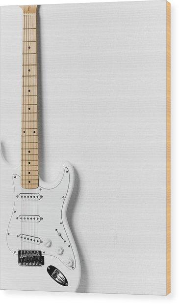White Electric Guitar Wood Print