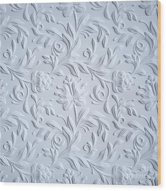 White Embossed Flowers Pattern Wood Print by Wacomka