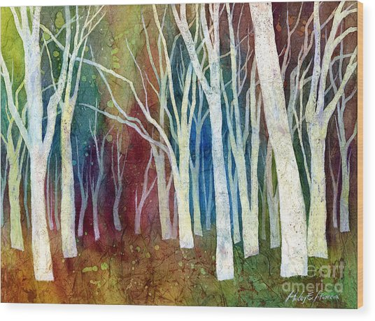 White Forest I Wood Print