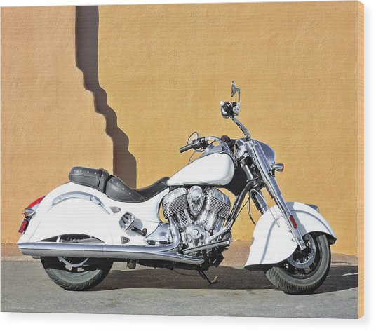 White Indian Motorcycle Wood Print