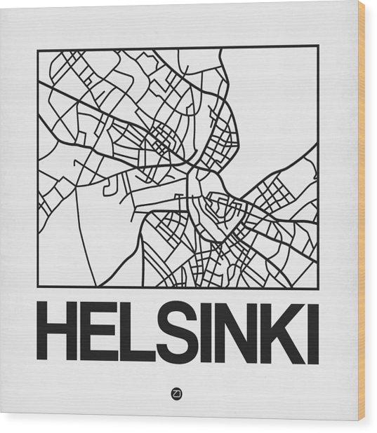 White Map Of Helsinki Wood Print