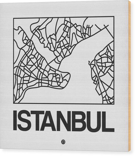 White Map Of Istanbul Wood Print