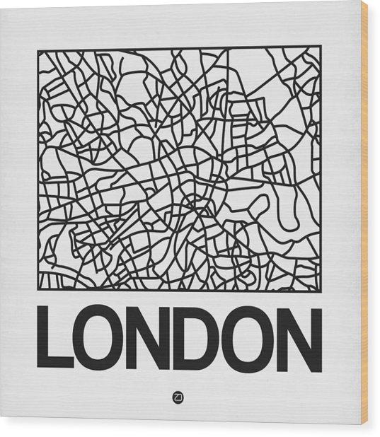 White Map Of London Wood Print