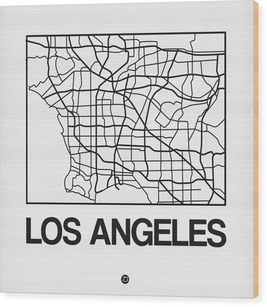 White Map Of Los Angeles Wood Print