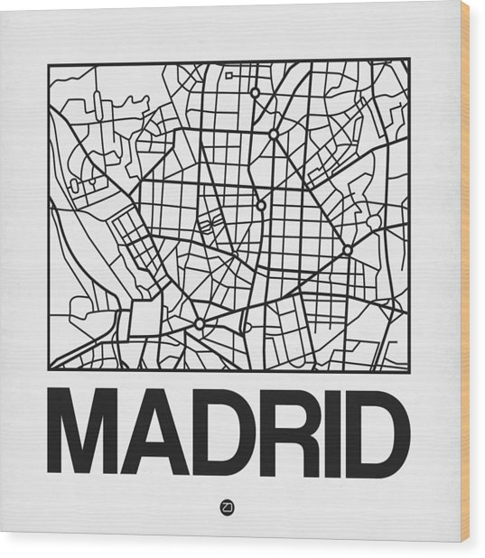 White Map Of Madrid Wood Print