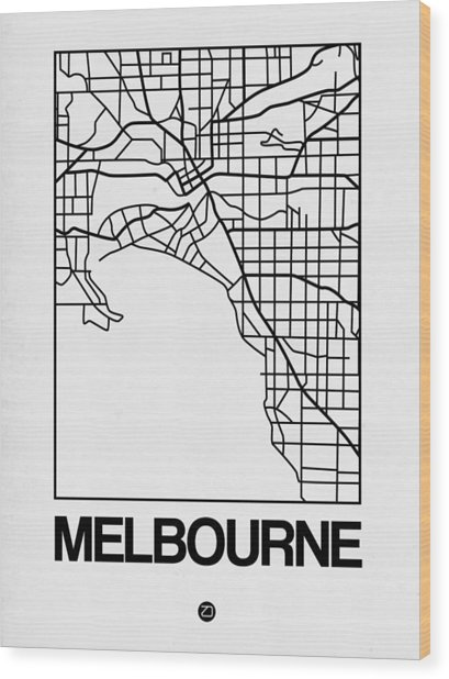 White Map Of Melbourne Wood Print