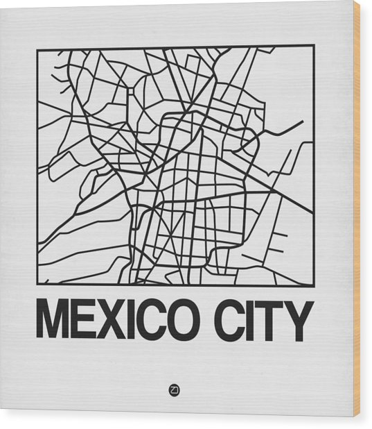 White Map Of Mexico City Wood Print