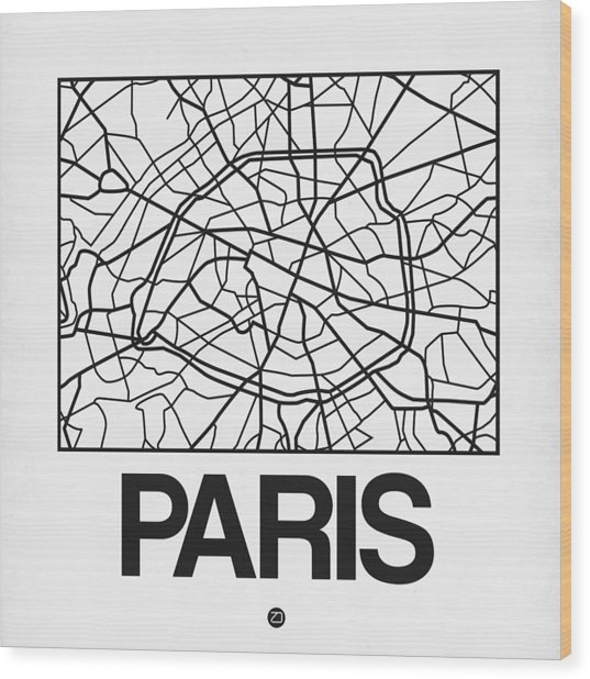 White Map Of Paris Wood Print