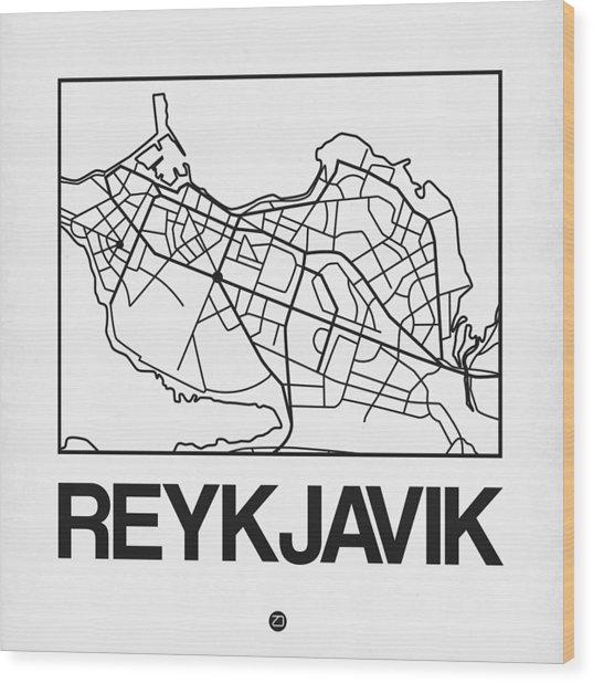 White Map Of Reykjavik Wood Print