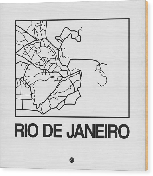 White Map Of Rio De Janeiro Wood Print