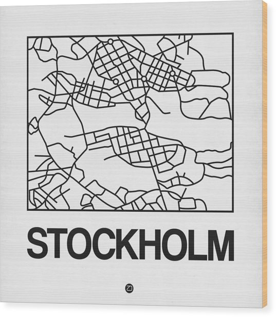White Map Of Stockholm Wood Print