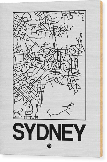 White Map Of Sydney Wood Print