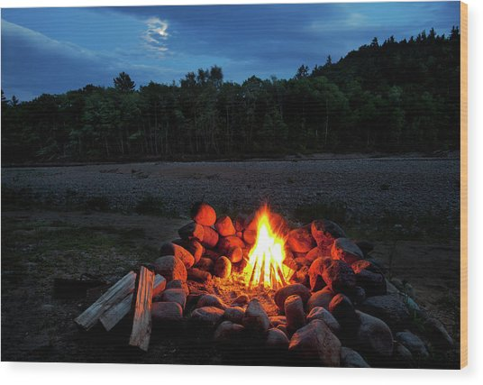 White Mountains Moonlit Campfire Wood Print