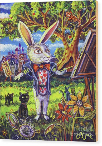 White Rabbit Alice In Wonderland Wood Print
