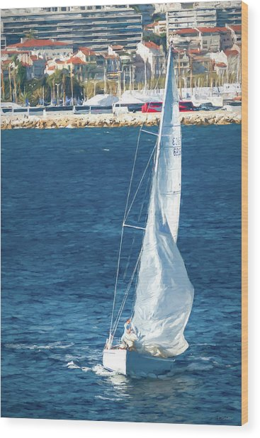 White Sailboat At Cannes Wood Print by Tony Grider