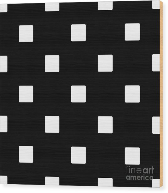 White Squares On A Black Background- Ddh576 Wood Print