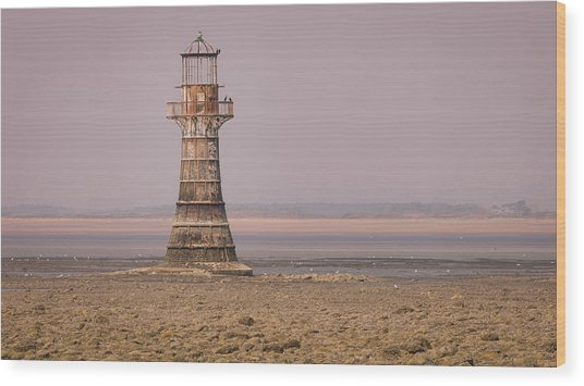 Wood Print featuring the photograph Whiteford Point Lighthouse In Pink by Elliott Coleman