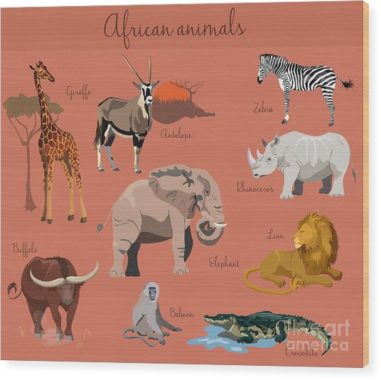 Wild African Animals Set With Nature Wood Print