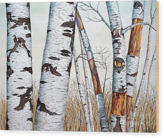 Wild Birch Trees In The Forest In Watercolor Wood Print