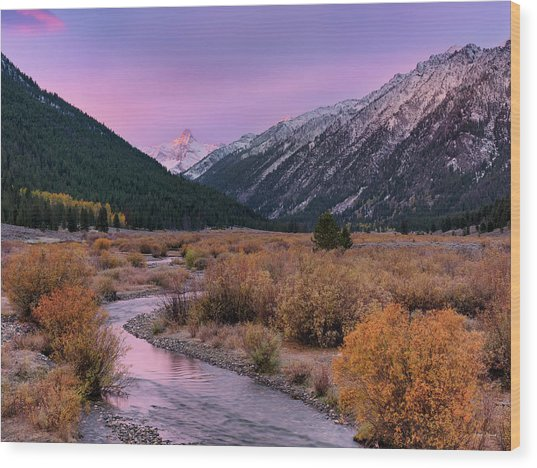 Wildhorse Creek Autumn Sunrise Wood Print by Leland D Howard