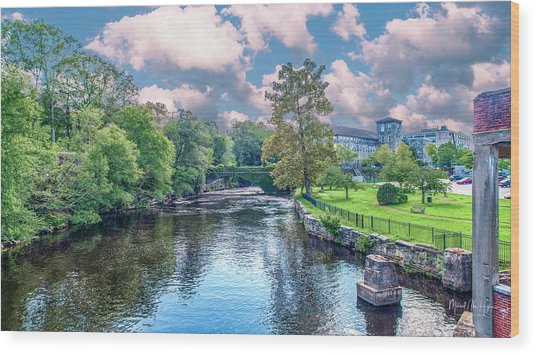 Willimantic River With Clouds Wood Print